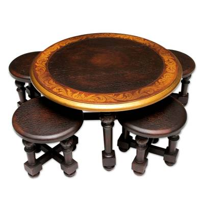 Traditional Wood Coffee Table And Stools Set Of 4 Antique Peru Novica