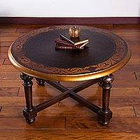 Wood round accent table, 'Antique Peru' (large) - Fair Trade Peruvian Traditional Wood Coffee Table