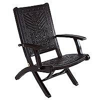 Tornillo wood and leather chair, Inca Gods