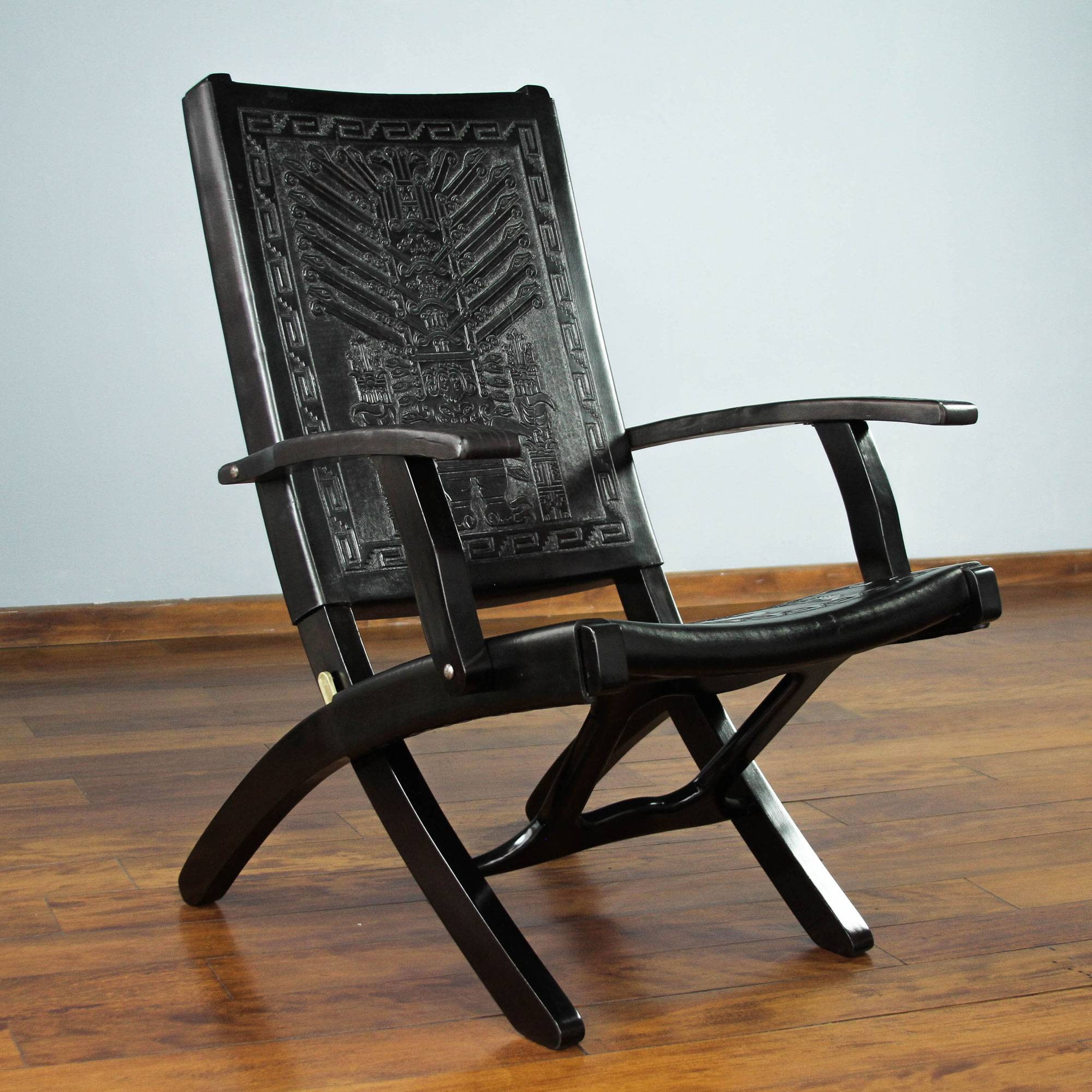 Tornillo wood and leather chair, 'Inca Gods' - Gorgeous for both inside and outside. It's almost too pretty to leave outside, as I'd be tempted to fold it and store it inside.