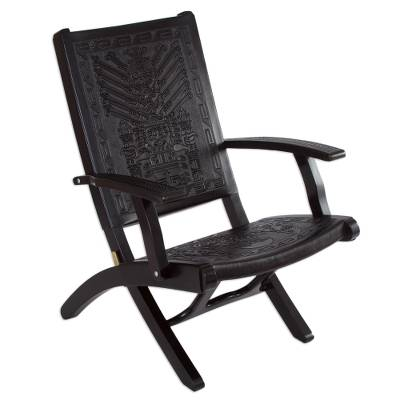 Tornillo wood and leather chair, 'Inca Gods' - Hand Made Contemporary Leather Wood Chair