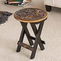 Mohena wood and leather folding table, 'Bird of Paradise' - Hand-Tooled Leather Top Folding Table with Birds Motif