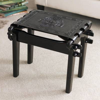 Tornillo wood and leather stool, 'Nobility' - Handcrafted Black Tooled Leather Wood Stool from Peru