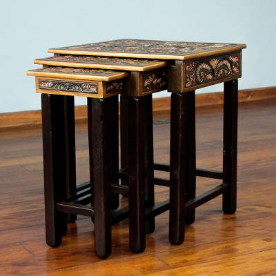 Mohena and leather accent tables, 'Bird of Paradise' (set of 3) - Artisan Crafted Tooled Leather Wood Side Table (Set of 3)