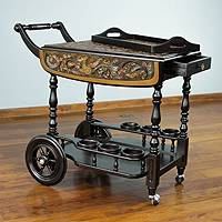 Leather and cedar bar cart, A Movable Drink - Rolling Tooled Leather and Wood Bar Cart