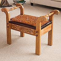Cedar and leather stool, 'Colonial Blond' - Cedar and leather stool