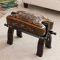 Mohena wood and leather stool, 'Bird of Paradise' - Hand Made Leather Wood Footstool Vaulted Horse Seat