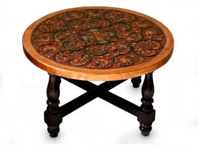 Mohena wood and leather coffee table, 'Andean Birds' - Artisan Crafted Leather Wood Coffee Table