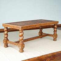 Mohena wood and leather coffee table, 'Andean Residents' - Mohena wood and leather coffee table