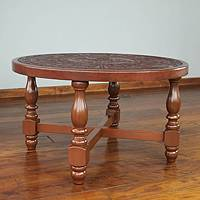 Mohena wood and leather coffee table, 'Andean Heritage' - Colonial Leather Wood Coffee Table from Peru