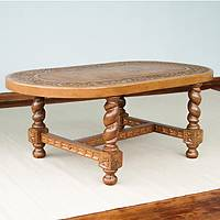 Mohena wood and tooled leather table, 'Andean Colony' - Mohena wood and tooled leather table