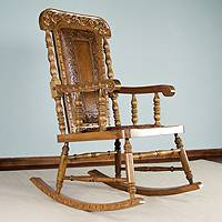 Mohena wood and leather rocking chair, 'Royal Colonial' - Colonial Wood Leather Chair