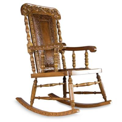 Colonial Wood Leather Chair