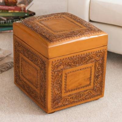 Leather ottoman, 'Golden Colonial Ivy' - Leather ottoman