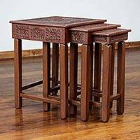 Mohena wood and leather accent tables, 'Inca Light' (set of 3)