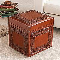 Mohena wood and leather ottoman, 'Flight of the Condor' - Hand Tooled Wood and Leather Storage Ottoman