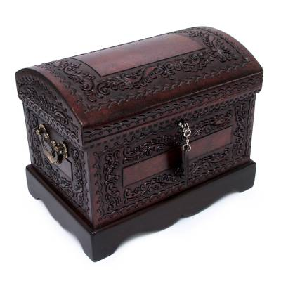 Mohena wood and leather jewelry box, 'Colonial Treasure' - Womens Colonial Leather and Wood Jewelry Box
