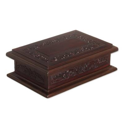 Mohena wood and leather jewelry box, 'Andean Details' - Handcrafted Colonial Wood and Leather Jewelry Box