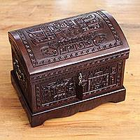 Mohena wood and leather jewelry box, 'Inca Domain' - Colonial Tooled Leather jewellery Box