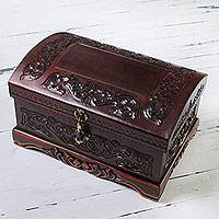 Mohena wood and leather jewelry box, 'Colonial Legacy' - Decorative Chest Colonial Leather jewellery Box