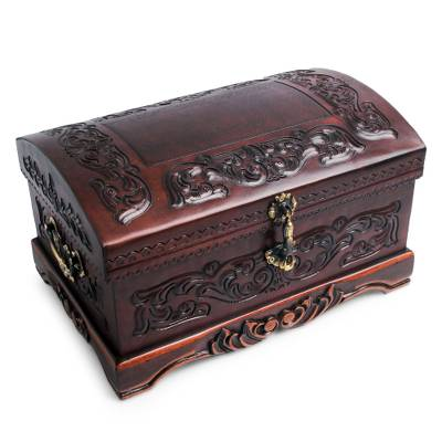 Mohena wood and leather jewelry box, 'Colonial Legacy' - Decorative Chest Colonial Leather Jewelry Box