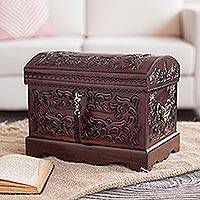 Mohena wood and leather jewelry box, 'Colonial Mystique' - Unique Colonial Wood Leather Jewelry Box
