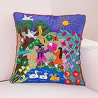 Applique cushion cover, 'Mother's Day' - Handmade Folk Art Cotton Patterned Cushion Cover
