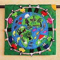 Applique wall hanging, 'Our World' - Cotton Folk Art Wall Hanging