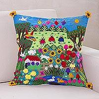 Applique cushion cover, 'Spring Fun' - Artisan Hand Embroidered Applique Cushion Cover
