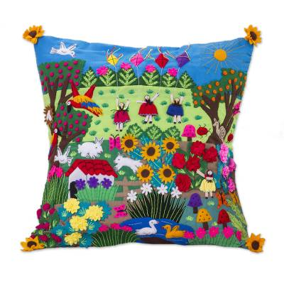 Applique cushion cover, 'Spring Fun' - Fair Trade Folk Art Patterned Applique Cushion Cover
