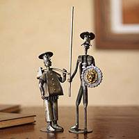 Auto part sculpture, 'Don Quixote and Sancho Panza' (pair)