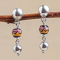 Sterling silver and ceramic dangle earrings, 'Aymara Sunset' - Sterling silver and ceramic dangle earrings