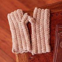100% alpaca fingerless mitts, 'Mocha Winter' - Alpaca Wool Fingerless Knit Gloves