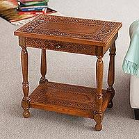 Mohena wood and leather table, 'Andean Elegance' - Traditional Leather Wood End Table