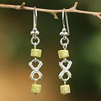 Serpentine dangle earrings, 'Cuzco Harmony' - Serpentine dangle earrings