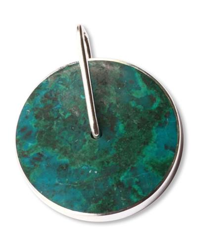 Handmade Modern Fine Silver Chrysocolla Pendant