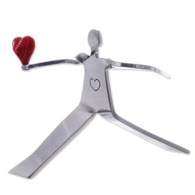 Aluminum sculpture, 'A Heart for Love' - Aluminum Romantic Sculpture Handmade in Peru