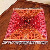 Wool rug, 'Calendar in Color' (4x5.5) - Wool rug (4x5.5)
