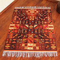 Wool rug, 'Calendar in Symmetry' (4x6) - Wool rug (4x6)
