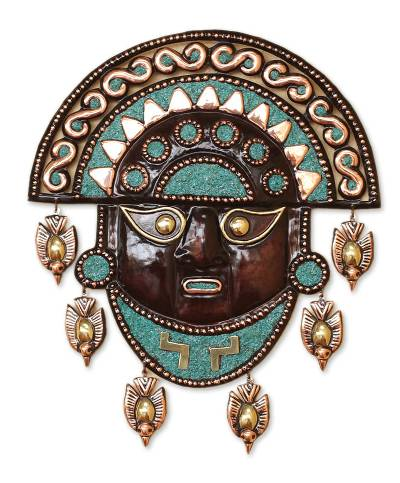 Handcrafted Archaeological Copper Bronze Tumi Mask