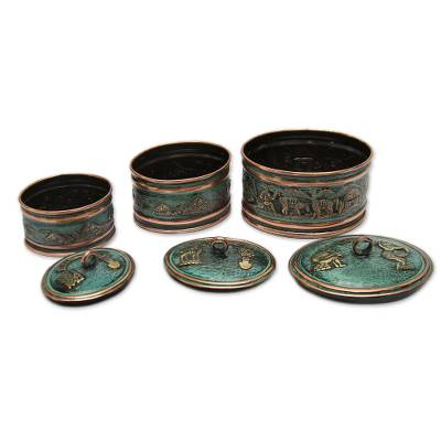Bronze and copper boxes, 'Andean Life' (set of 3) - Artisan Crafted Copper and Bronze Decorative Boxes (Set o