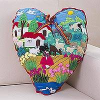 Applique throw pillow, 'I Love Our Andean Farm' - Handmade Fork Art Lush Heart Shaped Throw Pillow