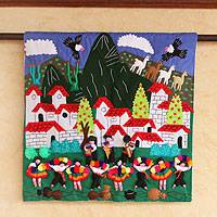 Applique wall hanging, 'Cuzco Village' - Applique wall hanging