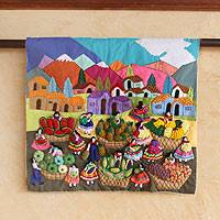 Cotton applique wall hanging, 'Andean Fruit and Vegetable Market' - Handmade Multi coloured Peruvian Arpilleria Applique Wall Ha