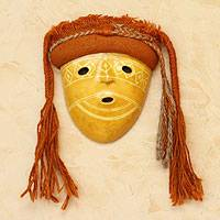 Recycled paper mask, 'Chancay Woman II' - Fair Trade Archaeological Mask
