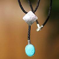 Leather and amazonite Y necklace, 'Urban Andes' - Leather and amazonite Y necklace