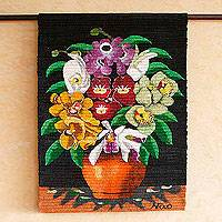Wool tapestry, 'Orchid Flowers' - Wool tapestry