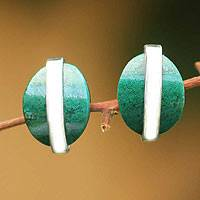 Chrysocolla button earrings, 'Innovate' - Collectible Modern Silver Chrysocolla Button Earrings