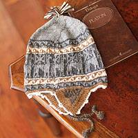 Alpaca blend chullo hat, 'Gray Llamas' - Llama Themed Alpaca Wool Blend Reversible Hat