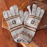 Alpaca blend gloves, 'Gentle Clouds' - Alpaca Wool Patterned Gloves from Peru